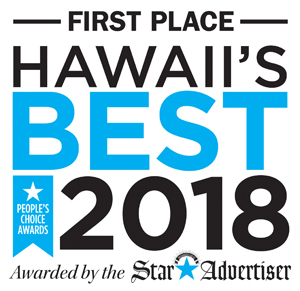 """image with words """"First Place Hawaii's Best 2018, awarded by the Star Advertiser"""""""