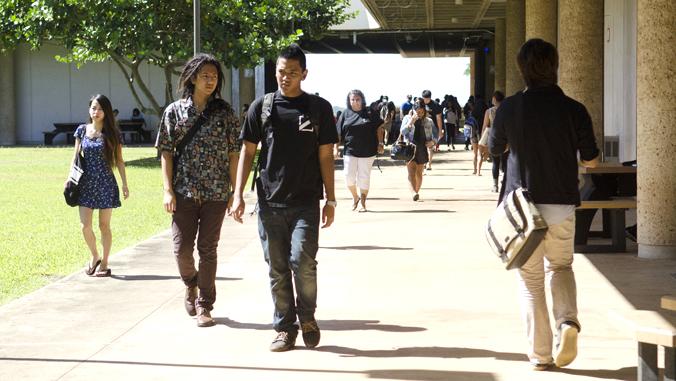 students walking through Leeward Community College