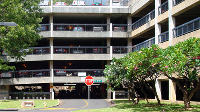 The exterior of the parking structure