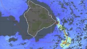 Satellite image of Hawaii Island indicating phytoplankton blooms