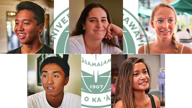 Five freshmen and the U H Manoa seal