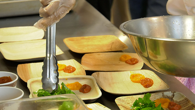 Food being plated