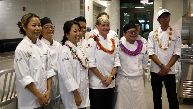 culinary students smiling for group shot
