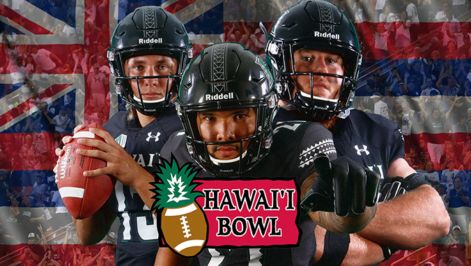 Football players in front of a Hawaii flag background with the Hawaii Bowl logo
