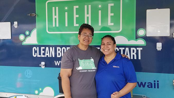 Velvet King and colleague in front of the HiEHiE van