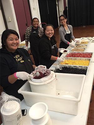 Volunteers waiting to serve food