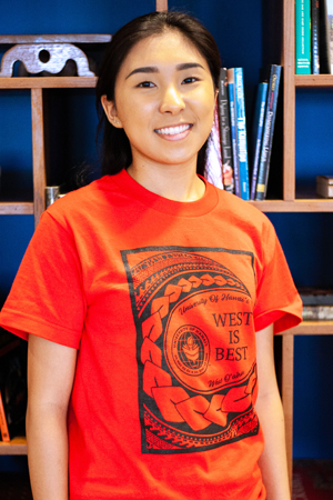 Lugo wearing her West is Best red T-shirt