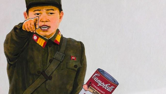Artwork of soldier holding Campbell's soup can