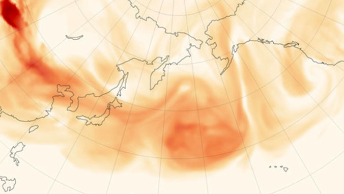 Map of Asian dust transport over North Pacific