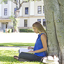 Student sitting outside