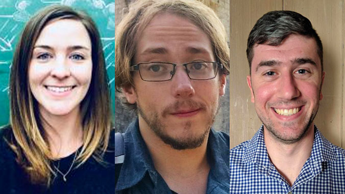 3 headshots of graduate students