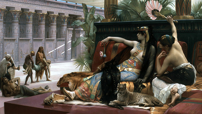 Painting of Cleopatra testing poisons on condemned prisoners