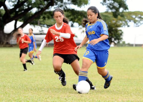 The Hilo Viking girls defeated the St. Joseph Cardinals 4-0 during BIIF soccer action.