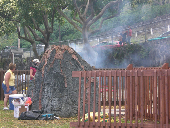 """""""On day 51 of the renovation, the park volcano let off a little steam,"""" Kopp said. """"We view this as a positive omen."""" (Photo courtesy of Cliff Kopp)"""