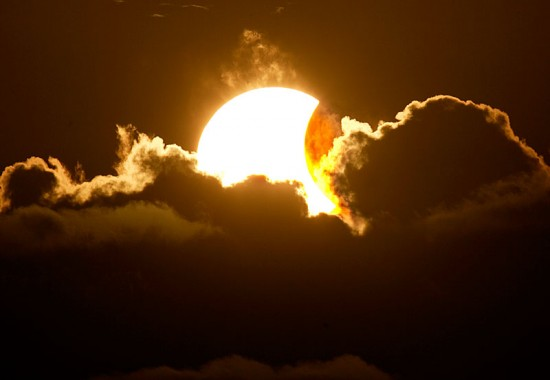 A partial solar eclipse seen at 5:45 p.m. from the Natural Energy Labratory of Hawaii