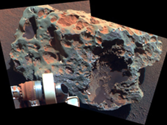 """This view of a rock called """"Block Island,"""" the largest meteorite yet found on Mars, comes from the panoramic camera (Pancam) on NASA's Mars Exploration Rover Opportunity. (Photo courtesy of  NASA/JPL-Caltech/Cornell University)"""