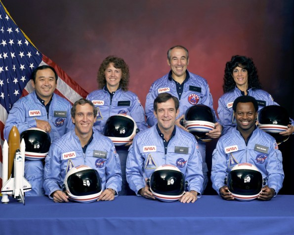 The NASA family lost seven of its own on the morning of January 28, 1986, when a booster engine failed, causing the Shuttle Challenger to break apart just 73 seconds after launch. The crew of STS-51-L: Front row from left, Mike Smith, Dick Scobee, Ron McNair. Back row from left, Ellison Onizuka, Christa McAuliffe, Greg Jarvis, Judith Resnik.  Photo courtesy of NASA