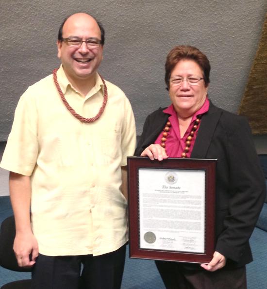 Sen. Malama Solomon presents the Senate Certificate of Recognition to Dr. Taft E. Armandroff, director of the W. M. Keck Observatory. (Photo courtesy of Hawaii Senate Majority)