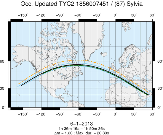 A map of the path of the occultation Jan. 6, 2013. The blue lines indicate the limit of the path by the primary asteroid Sylvia (centered on the black line). The green and orange lines correspond to the paths of Romulus and Remus, respectively. (Image courtesy of IMCCE)