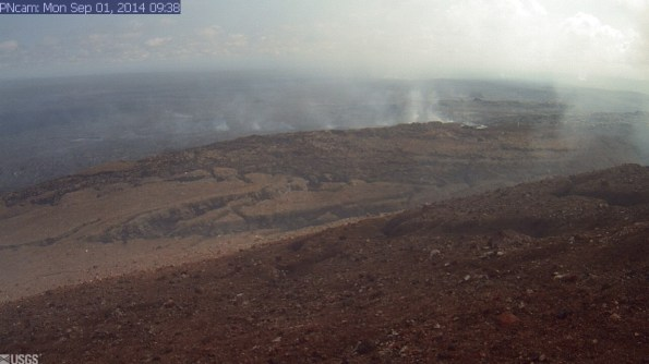 This image is from a research camera positioned on Puʻu ʻŌʻō, looking North. Image taken at 9:38 a.m., Monday, September 1, 2014. Photo courtesy of USGS/HVO