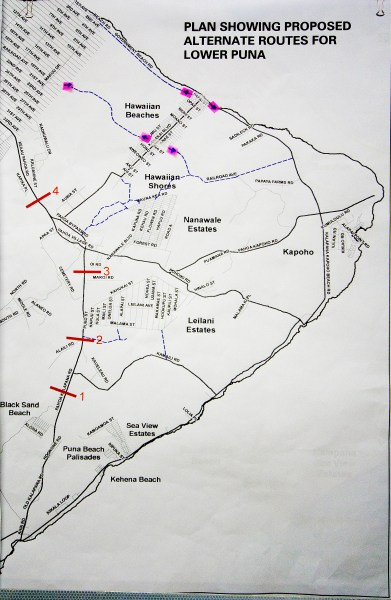 Alternate routes for Lower Puna displayed at the Lava Flow Informational Fair Saturday (Sept 13) in Pahoa. Photography by Baron Sekiya | Hawaii 24/7