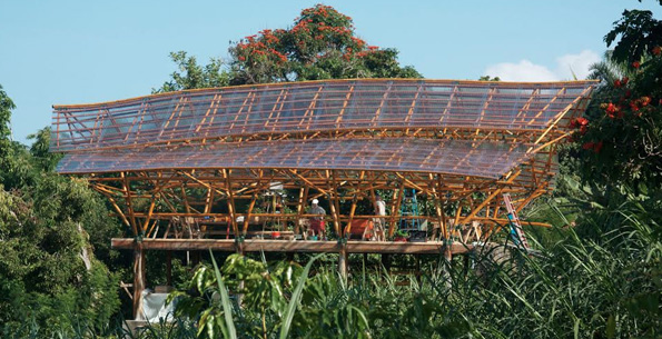 The Building with Bamboo workshops will be held in the Lightwave Bamboo Agricultural Structure at a private residence in Kona. (Photo courtesy of The Institute for a Sustainable Future)