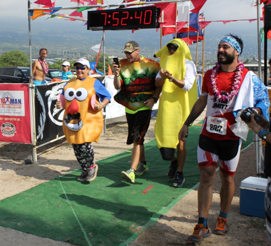 Some unofficial finishers join the party with Valenti Gumbau Sanjuan. The Spaniard (682) finished 16th overall. (Hawaii 24/7 photo by Karin Stanton)