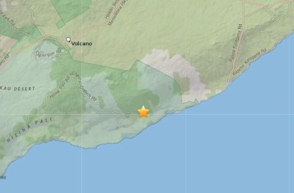 Epicenter of 10:30 p.m. Friday, January 23, 2015 quake. Map courtesy of USGS.