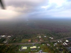 Image from Thursday (Feb 12) morning's overflight looking upslope from Pahoa Marketplace. Photo courtesy of Hawaii County Civil Defense
