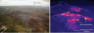 This comparison of a normal photograph and a thermal image shows the leading portion of the June 27th flow. The white box shows the rough extent of the thermal image. In the thermal image, the active breakouts are visible as yellow and white pixels, and these areas are scattered upslope of the stalled tip of the flow. Photo taken Friday, February 27, 2015 courtesy of USGS/HVO