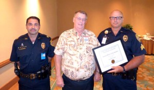 Captain Randal Medeiros, Hawaiʻi Island Safety and Security Professionals Association Vice President Bill King and Sergeant Richard Toledo