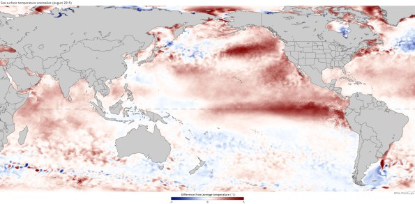 Sea surface temperatures during August, 2015, shown as departure from the 1081-2010 average. Climate.gov figure.