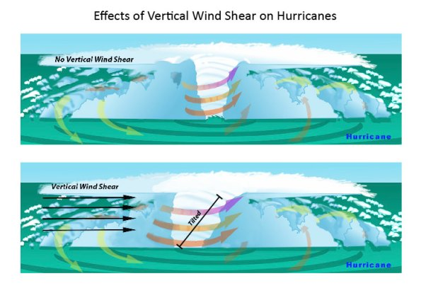 In the presence of vertical wind shear, a storm's core structure will be tilted in relationship to the wind shear. This tilting will disrupt the flow of heat and moisture which inhibits the storm from developing and becoming stronger. Graphics courtesy of NOAA