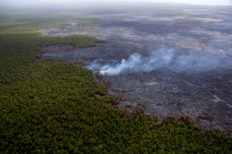 The June 27th lava flow remains active with scattered breakouts northeast of Puʻu ʻŌʻō. The farthest active breakout today was about 6.5 km (4 miles) from Puʻu ʻŌʻō. This photograph shows activity along the northern flow boundary, where breakouts continue to burn vegetation. Photo taken Monday, September 28, 2015 courtesy of USGS/HVO