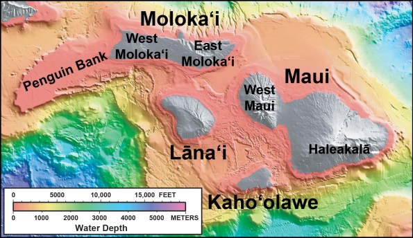 """In this shaded relief and bathymetric map of Maui County, colors indicate water depth, from shallow (orange and yellow) to deep (blue and purple), with shades of gray indicating island areas above sea level. From: <a href=""""http://pubs.usgs.gov/imap/2809/"""" target=""""_blank"""">U.S. Geological Survey Geologic Investigations Series Map I-2809, """"Hawaiʻi's Volcanoes Revealed""""</a>"""