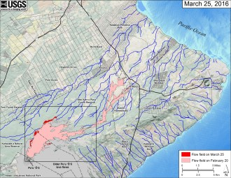 This small-scale map shows Kīlauea's active East Rift Zone lava flow field in relation to the eastern part of the Island of Hawaiʻi. The area of the flow field on February 20 is shown in pink, while widening and advancement of the flow field as mapped on March 25 is shown in red. Puʻu ʻŌʻō lava flows erupted prior to June 27, 2014, are shown in gray. The black box shows the extent of the accompanying large scale maps. The blue lines show steepest-descent paths calculated from a 1983 digital elevation model (DEM; for calculation details, see http://pubs.usgs.gov/of/2007/1264/). Steepest-descent path analysis is based on the assumption that the DEM perfectly represents the earth's surface. DEMs, however, are not perfect, so the blue lines on this map can be used to infer only approximate potential flow paths. The base map is a partly transparent regional land cover map from National Oceanic and Atmospheric Administration (NOAA) Office of Coastal Management draped over a 1983 10-m digital elevation model (DEM). The bathymetry is also from NOAA. Because the flow field is changing very little at the moment, mapping of the lava flow is being conducted relatively infrequently. We will return to more frequent mapping if warranted by an increase in activity.
