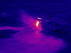 A thermal image taken during HVO's overflight of Kīlauea Volcano's ocean entry on Jan. 25, 2017, revealed a hot ground crack in the sea cliff just above where lava is flowing into the sea. Because the crack suggested an unstable sea cliff, HVO geologists briefly visited the site on foot for closer observations and measurements this past weekend. Photo taken Monday, January 30, 2017 courtesy of USGS/HVO