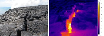 Using a thermal image of the crack above Kīlauea volcano's ocean entry (steam from lava flowing into the sea is visible at the top of the left photo), HVO geologists determined that the temperature within the eastern end of the crack is up to about 220 degrees Celsius (428 degrees Fahrenheit). Photos taken Monday, January 30, 2017 courtesy of USGS/HVO