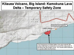 The Coast Guard is establishing a temporary safety zone for the navigable waters surrounding the Kilauea Volcano active lava flow entry into the Pacific Ocean on the southeast side of Hawaii Island (U.S. Coast Guard graphic by Sector Honolulu)