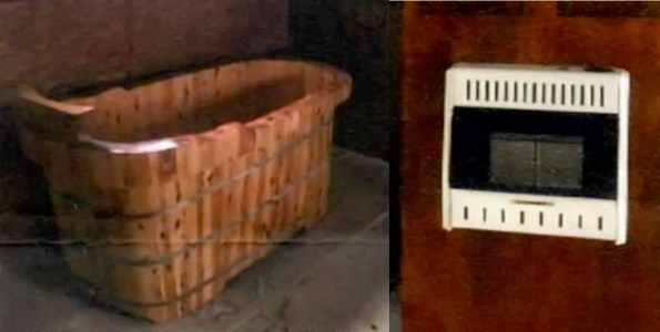 Stolen wooden bathtub and wall heater control