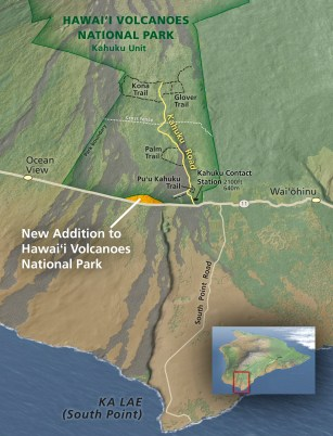 Map of addition to Hawaii Volcanoes National Park in Ka'u.