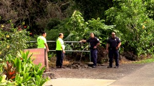 Hawaii County Firefighters and State DLNR/DOCARE personnel at Rainbow Falls lookout. Crews spent a second day searching for a missing swimmer Saturday (March 31). Photography by Baron Sekiya | Hawaii 24/7