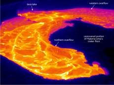 This thermal image (looking south) shows the active overflows from the lava lake (upper left) onto the Halema'uma'u crater floor. View is toward the south. Photo taken Thursday, April 26, 2018 courtesy of U.S. Geological Survey