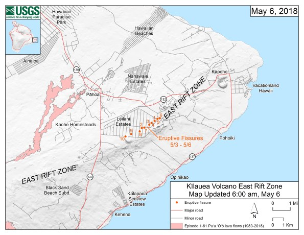 This map shows the locations, mapped by USGS-HVO scientists, of eruptive fissures in the order that they occurred in the Leilani Estates Subdivision as of 6:00 a.m. HST today (May 6). Eruption updates are posted on HVO's website at https://volcanoes.usgs.gov/volcanoes/kilauea/status.html—or you can sign up to receive automatic update messages through the USGS Volcano Notification Service at http://volcanoes.usgs.gov/vns/.