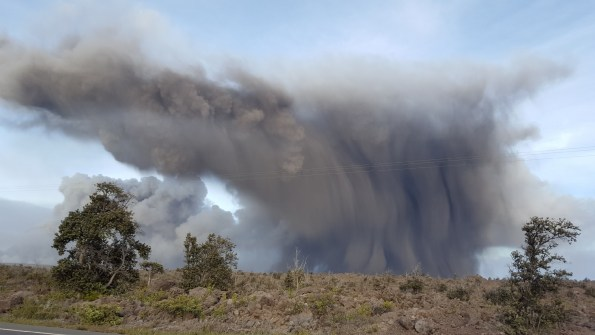 An ash cloud rises over Hawaii Volcanoes National Park Thursday, May 24, 2018. Photo courtesy of Pamela Mizuno.