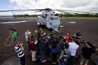 Two US Marine Corps CH-53 Sea Stallion helicopters and crews, out of Kaneohe Marine Corps Air Station, are at Hilo International Airport until Monday (May 28) on standby should they be needed to airlift evacuees out of the lower East Rift Zone. The media got to talk to the crew and tour the helicopters Friday (May 25). Photography by Baron Sekiya   Hawaii 24/7