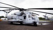 Two US Marine Corps CH-53 Sea Stallion helicopters and crews, out of Kaneohe Marine Corps Air Station, are at Hilo International Airport until Monday (May 28) on standby should they be needed to airlift evacuees out of the lower East Rift Zone. Photography by Baron Sekiya   Hawaii 24/7