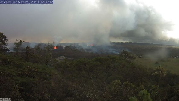 Panorama of Lower East Rift Zone Webcam at 7:36 a.m. Saturday, May 26, 2018. Image courtesy of the U.S. Geological Survey.