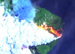 Image captured at 11 a.m. Monday, June 11, 2018 of the Kilauea Eruption Lower East Rift Zone via the Sentinel-2 Earth-observing satellite from the Copernicus Programme of the European Commission in partnership with the European Space Agency (ESA).