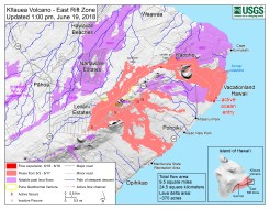 Map as of 1:00 p.m. HST, June 19, 2018. Given the dynamic nature of Kīlauea's lower East Rift Zone eruption, with changing vent locations, fissures starting and stopping, and varying rates of lava effusion, map details shown here are accurate as of the date/time noted. Shaded purple areas indicate lava flows erupted in 1840, 1955, 1960, and 2014-2015.